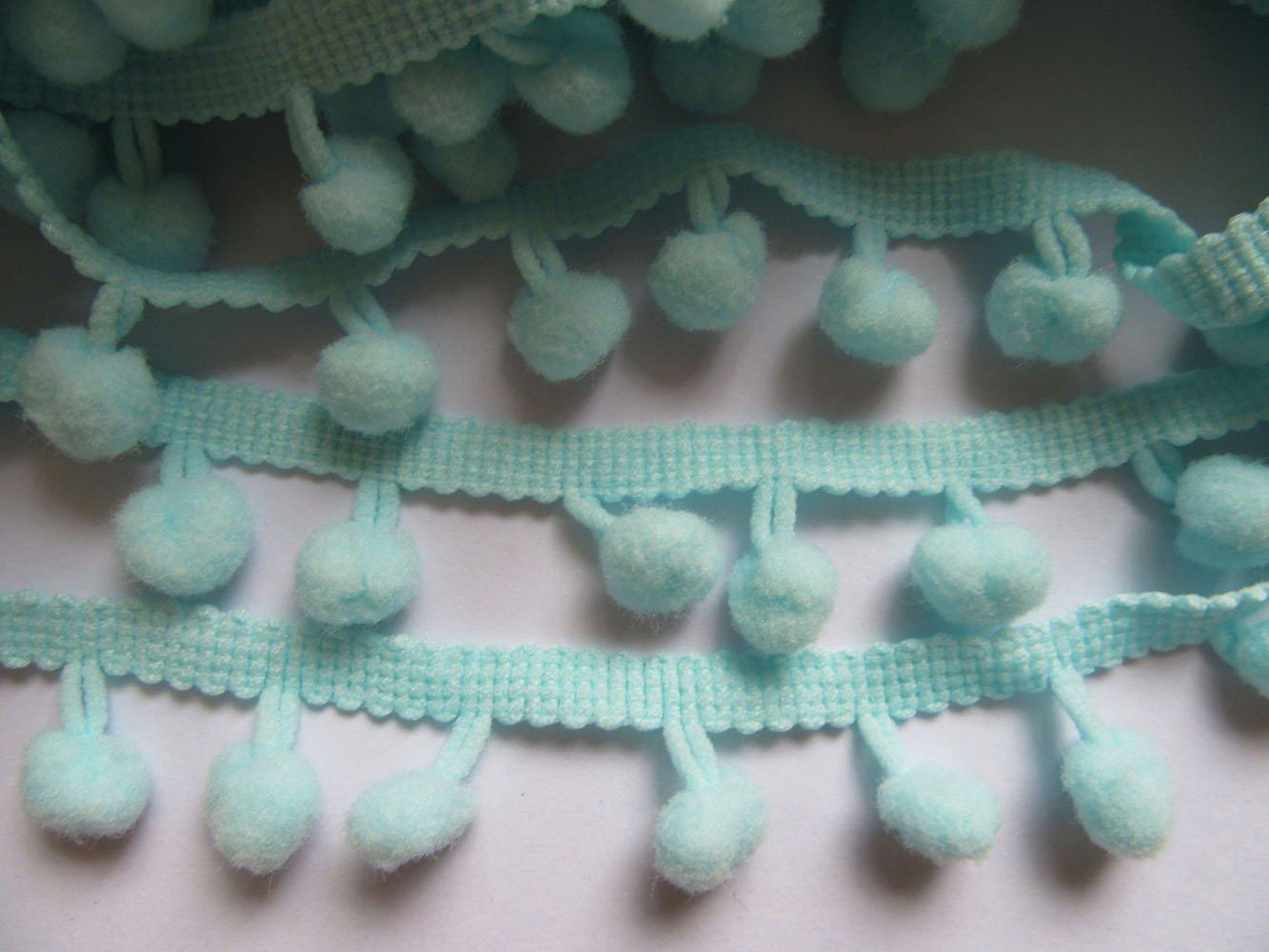 Franja decorativa para coser de YCRAFT, con pompones, flecos, bolas que cuelgan, de 91 cm, lazo, Blanco, pom size 12mm YYCRAFT