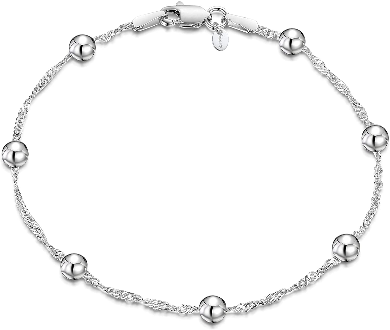 Amberta® Joyería - Pulsera - Fina Plata De Ley 925 - Cadena de Singapur con Perlas - 1.4/4 (mm) - 18 19 cm (18cm)