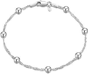 "Amberta 925 Sterling Silver Fine Chain Bracelet Length 7.5"" inch / 19 cm"