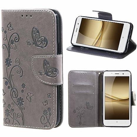 msk Funda Leagoo M5 Flor Carcasa Cuero Tapa Cover para Leagoo M5 Pro Bookstyle Cartera TPU