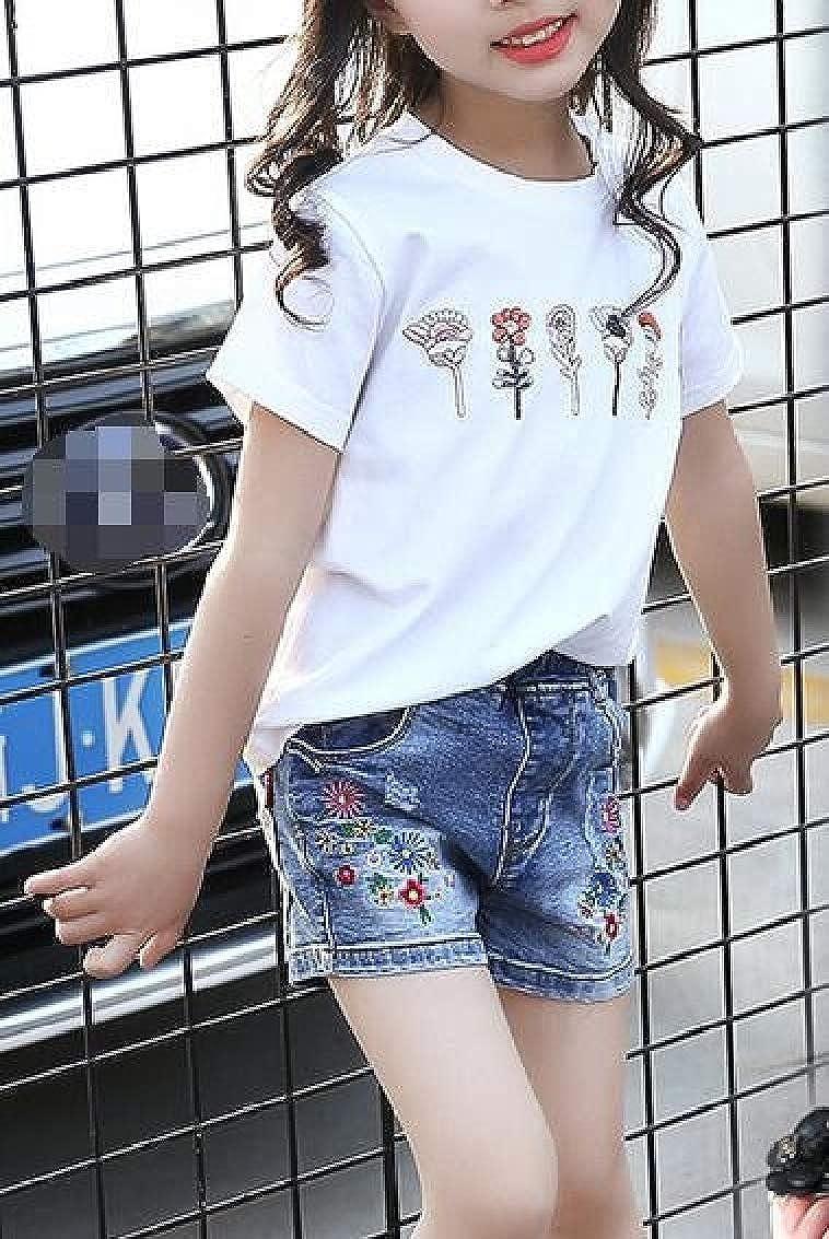 Sweatwater Girls All-Match Cute Printed Jean Denim Embroidery Shorts