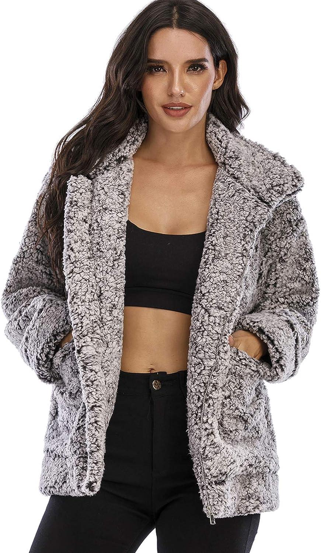 Womens Fuzzy Fleece Lapel Open Front Long Cardigan Leopard Coat Faux Fur Warm Winter Outwear Jackets with Pockets