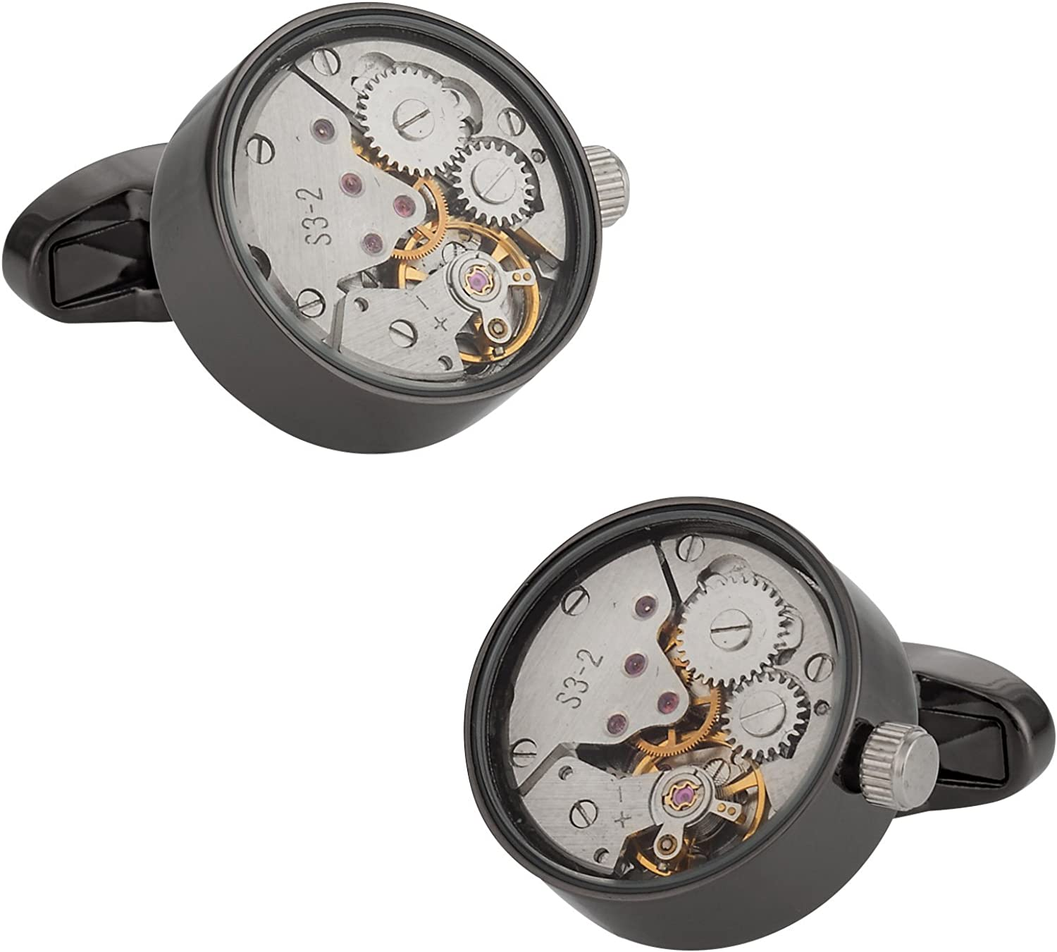 Cuff-Daddy Quality Checked-Gunmetal Working Watch Movement Cufflinks Functioning Steampunk with Glass Cover