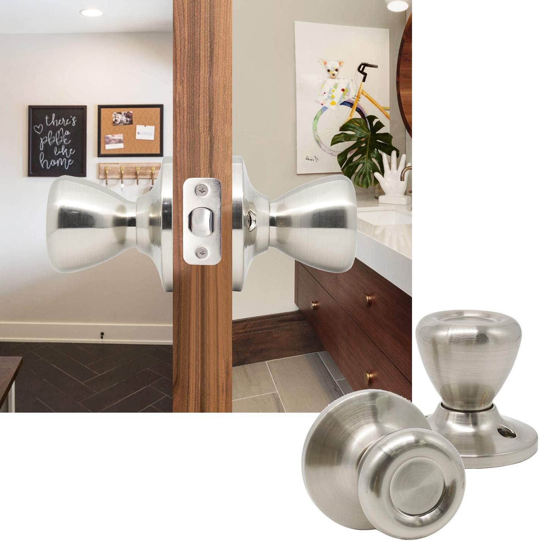 Dummy Round Door Handle Tulip Style Interior Door Knob Round Shape Satin Nickel Door Knob