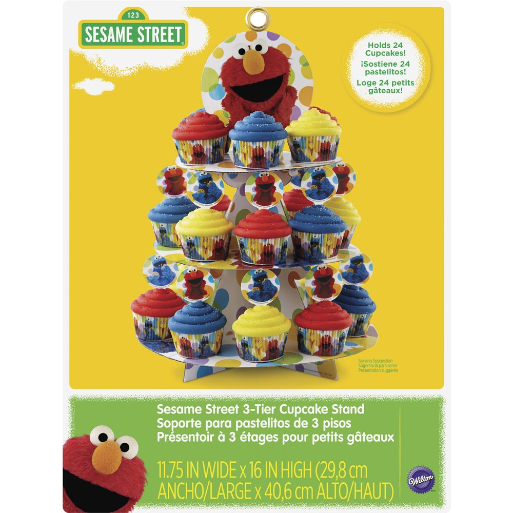 Wilton 1512-3470 Cupcake and Treat Stand 1 Count Licensed Sesame Street, Multicolored