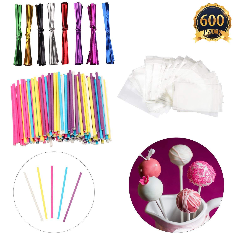 600 Pcs Lollipop Set Including 200 pack Lollipop treat Sticks(5 Different Colors),200 Pieces of Lollipop Parcel Bags and 200 Pieces of Wire Lines(8 Different Colors)