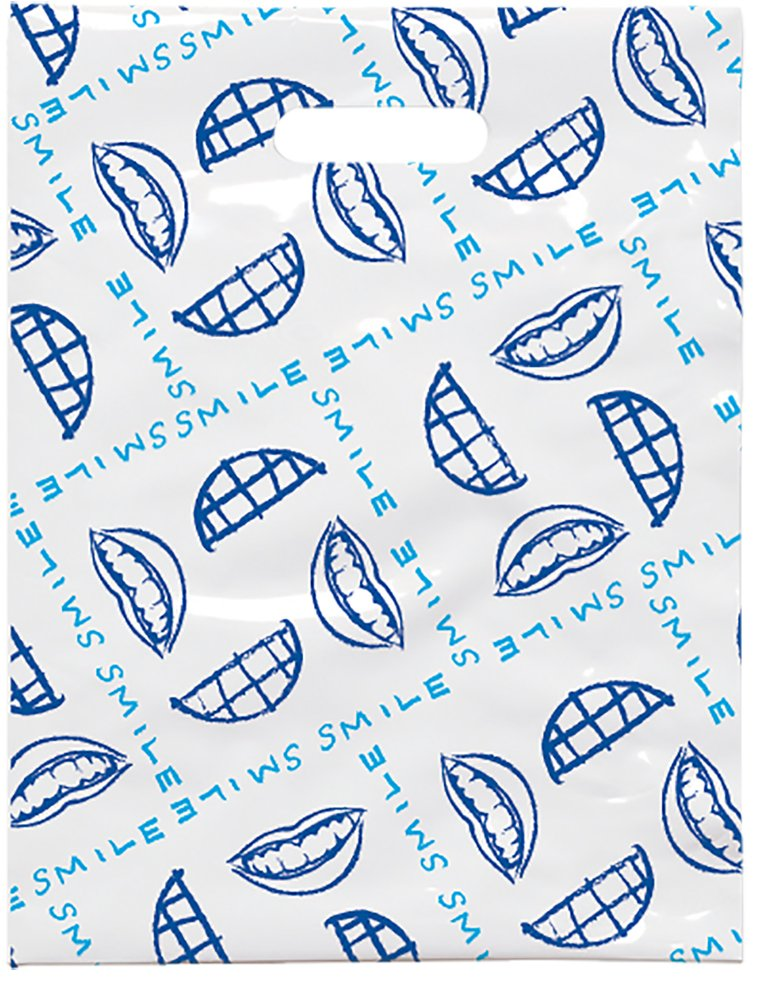 Practicon 1109660 Scatter Print Smile Plaid Bags, 8'' x 10'' (Pack of 100)