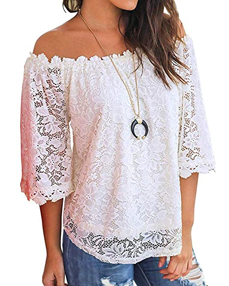Amazon.com: Camisas de encaje para mujer, manga 3/4, blusas ...