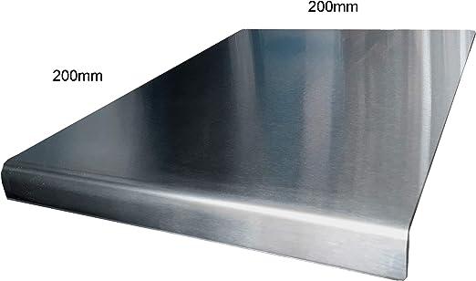 Protector de encimera de acero inoxidable con borde cuadrado, plano o redondo (incluye pies de goma antideslizantes) 200 x 200 Round Fold plata