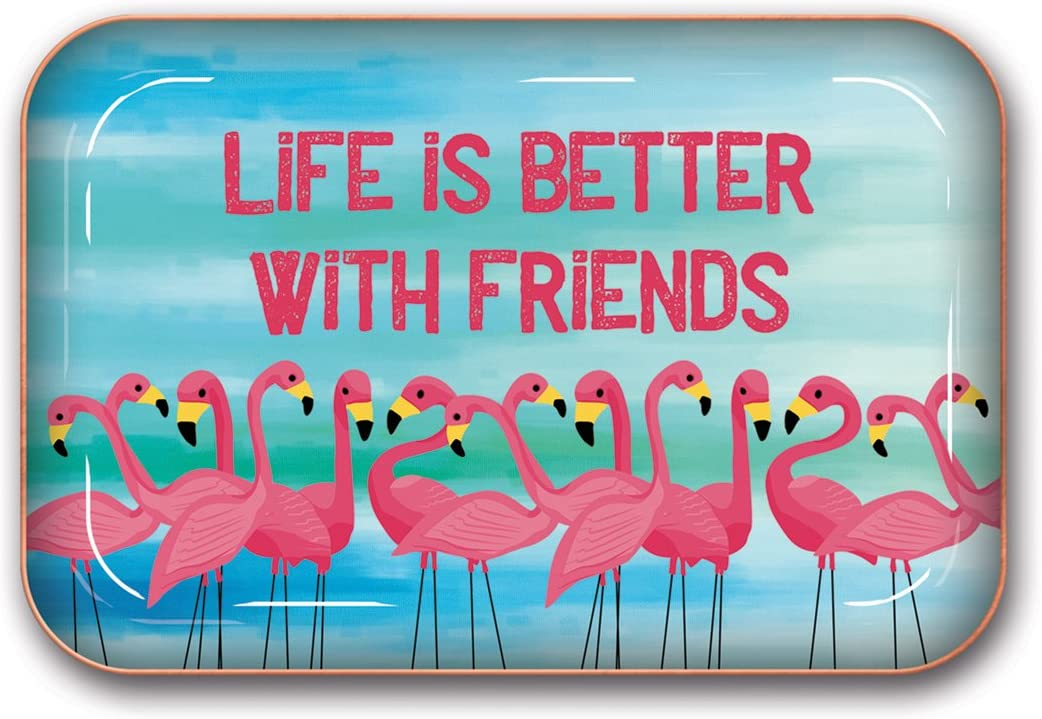Life Is Better with Friends Flamingos Studio Oh Medium Metal Catchall Tray Available in 12 Different Designs