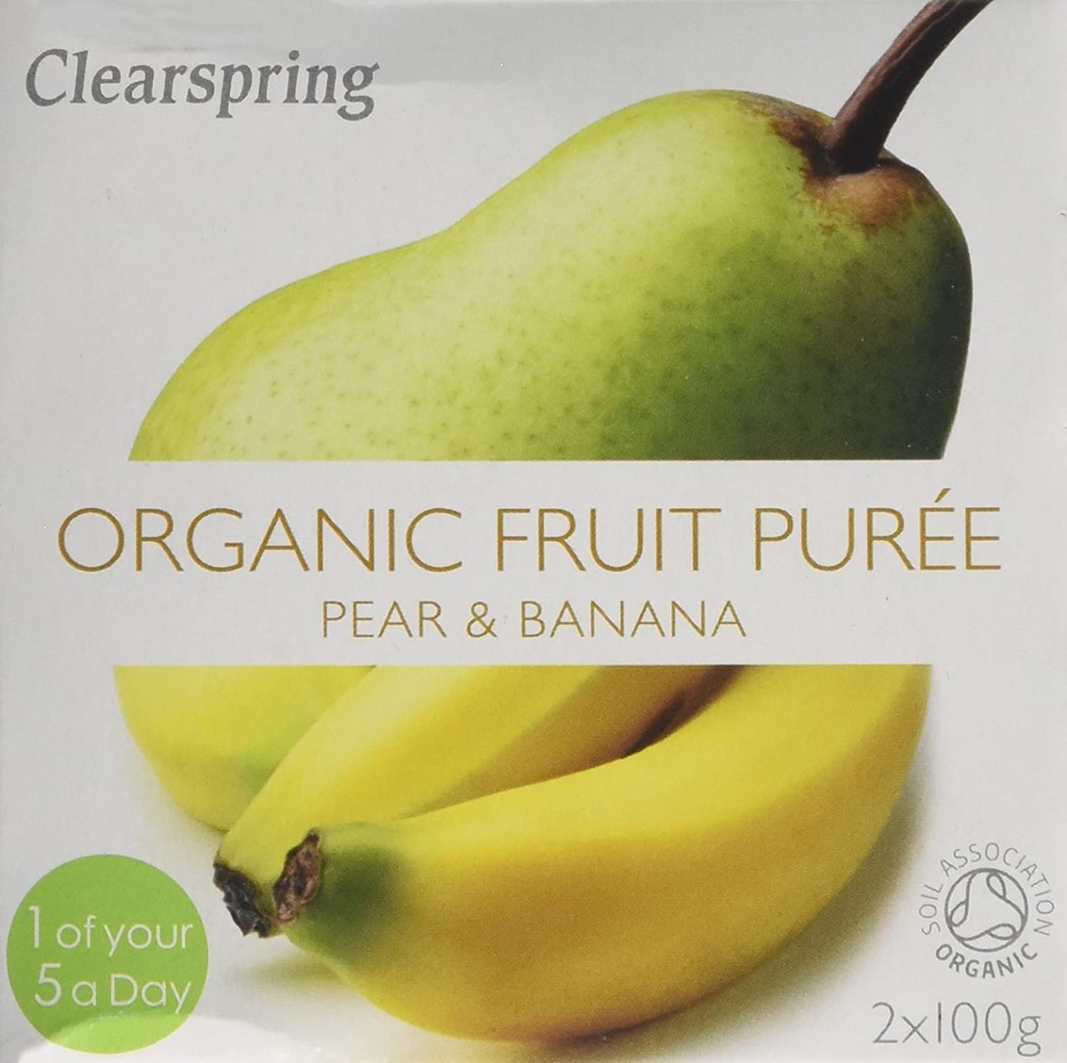 Clearspring Organic Pear and Banana Puree 2x100 g (Pack of 12) 42171