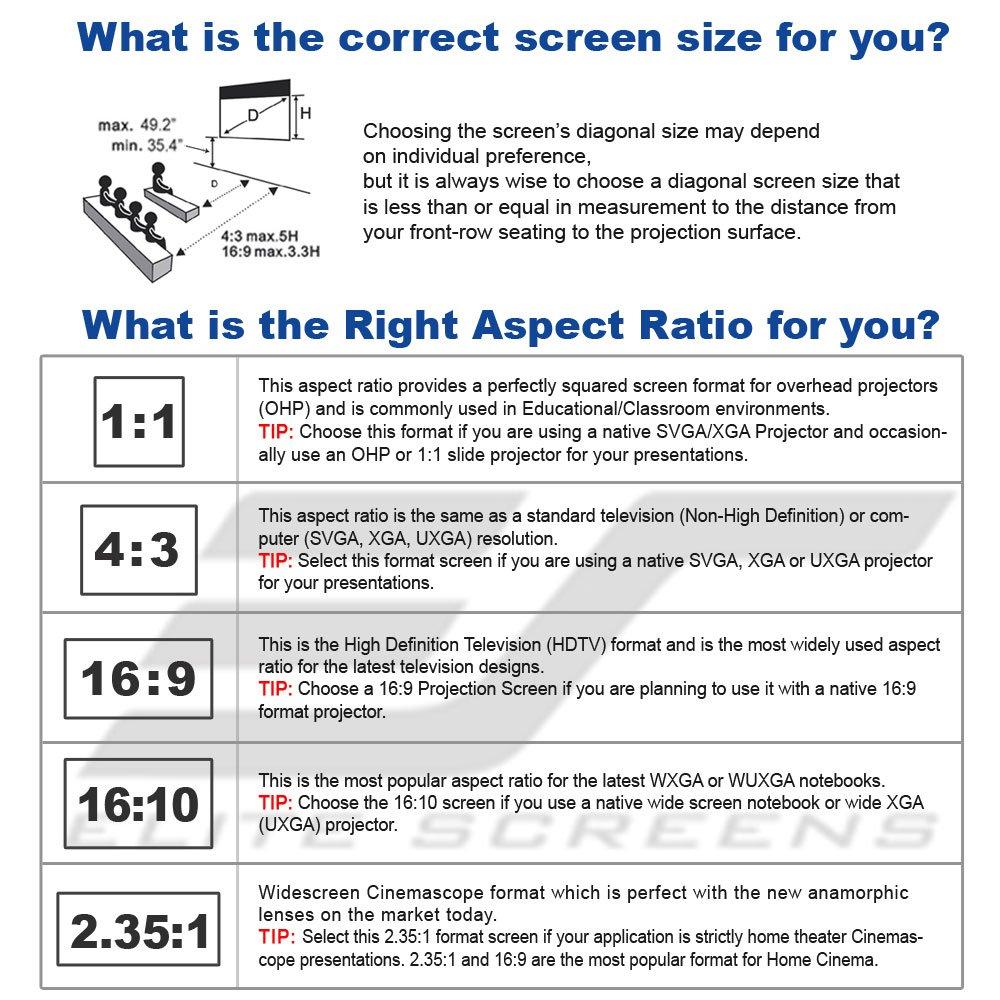 Elite Screens Spectrum2, 110-inch 16:9, 12-inch Drop, Electric Motorized Drop Down Projection Projector Screen, SPM110H-E12