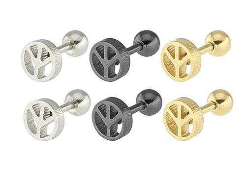Aooaz 3 pares / 6 piezas pendientes acero inoxidable aro ...