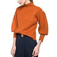 Luxspire Women's Puff Sleeve Turtleneck Loose Pullover Knit Sweater, Brown