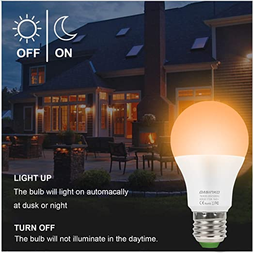 Bombilla LED de luz de bug Dusk a Dawn de 7 W LED, 50 W equivalente a bombilla de sensor de luz, encendido/apagado automáticoE27 sensor de luz bombilla de ...