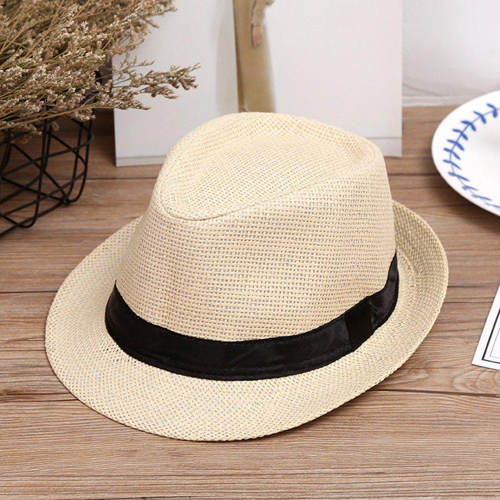 DaoRier Hombre Mujer Panama sombrero Jazz Sombrero Sombreros flexible de  sol verano playa Sombreros Beach sombrero sombrero de paja 1 pieza  M 56-58CM beige  ... dc2615aab5b