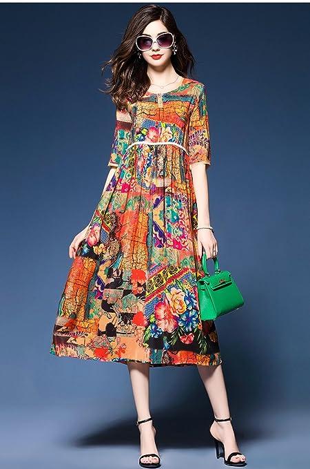 BiilyLi 2017 Womens Summer 1/2 Sleeves Retro Silk Print Dress Flower Color: Amazon.co.uk: Clothing