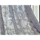"Better&Better Lace Romatic Floral Curtains for Living Room Washable 59.05""× 70.87"" (Gray)"