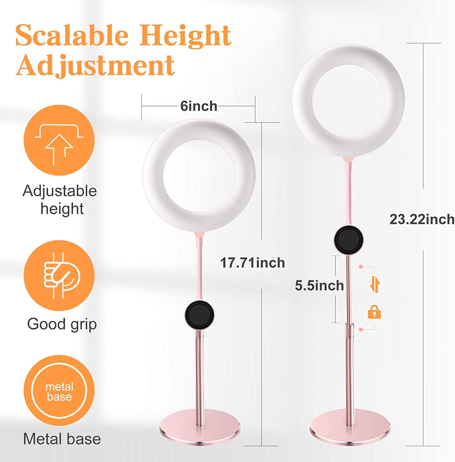 Magnetic Phone Holder Aluminum Alloy Base Small Mini Design Pink 6 Inch Rose Gold LED Ring Light With Stand Selfie Light Circle Light For Makeup Video Recording