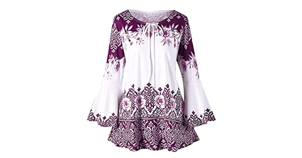 2a45b280adc0d Clearance Fashion Plus Size Clothing for Women - vermers Womens Printed  Flare Sleeve Tops Blouses Keyhole T-Shirts(S, y-Purple)