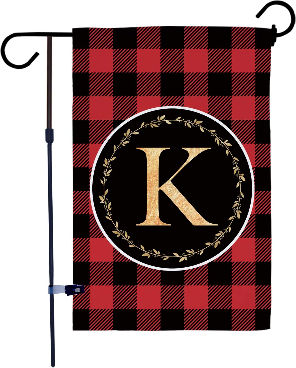 AKPOWER Small Garden Flag Black and Red Plaid Check Vertical Double Sided Farmhouse Burlap Yard Outdoor Decor Classic Monogram Letter 12.5 x 18 Inch K