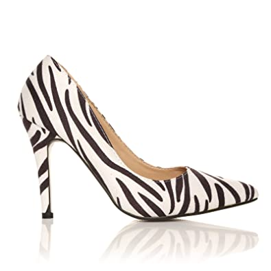 a3a0e4817 DARCY Zebra Print Microfibre Stilleto High Heel Pointed Court Shoes:  Amazon.co.uk: Shoes & Bags