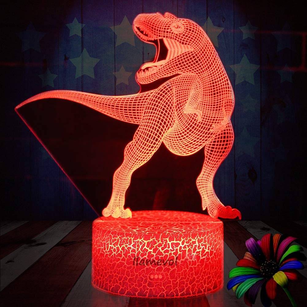 Night Light 3D lamp 7 Colors Changing Nightlight with Smart Touch Control 3D Night Light for Kids Room Decor or Perfect Gift for Kids Bedroom Theme Decor (Dinosaur Tyrannosaurus) by LLAMEVOL (Image #3)