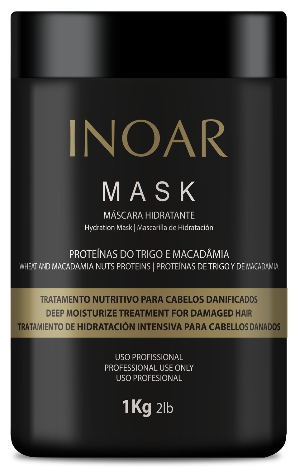 INOAR PROFESSIONAL - Macadamia Oil Premium Mask - Unique Blend of Macadamia Nut Protein and Wheat Protein to Condition and Intensely Moisturize the Hair (16.9 Ounces / 500 Grams)