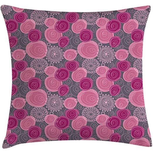 2Pcs Funda de cojín de cojín de color rosa y gris, estilo ...