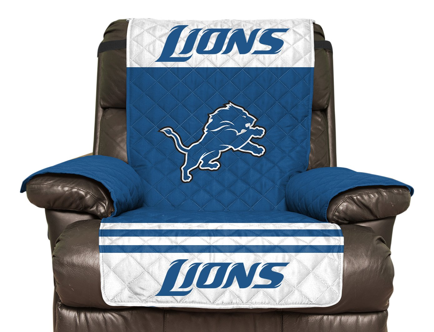 NFL Detroit Lions Recliner Reversible Furniture Protector with Elastic Straps, 80-inches by 65-inches