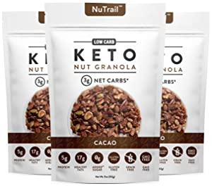 NuTrail - Keto Cacao Nut Granola Healthy Breakfast Cereal - Low Carb Snacks & Food - 3g Net Carbs - Almonds, Pecans, Coconut and more (11 oz) (3 Count)