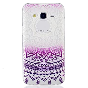 MUTOUREN teléfono caso cubrir volver piel protectora Shell Carcasas Funda para Samsung Galaxy J5(2015) - Henna Series Full Mandala Floral Dream ...