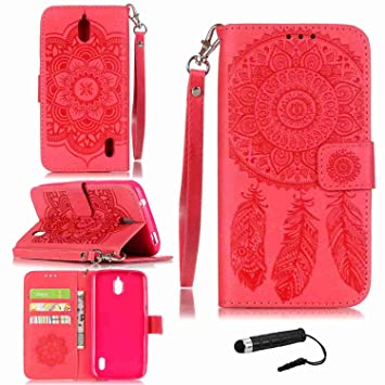 Funda Para Huawei Y625 , pinlu® Alta Calidad Función de plegado Flip Wallet Case Cover Carcasa Piel PU Billetera Soporte Con Ranuras Campanula Rojo