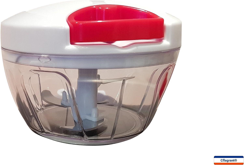 oignons et robot alimentaire//m/élangeur 8.5 x 12.5 x 8cm blanc Hachoir manuel multifonction 5 lames 900 ml //3 lames 500 ml puissante corde /à tirer pour l/égumes