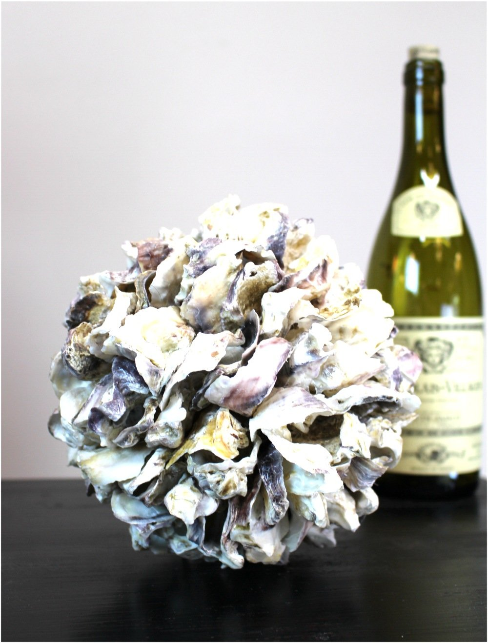 The King's Bay Oyster Shell Ball Natural Hand Made Beach Nautical Home Goods Accent 8''