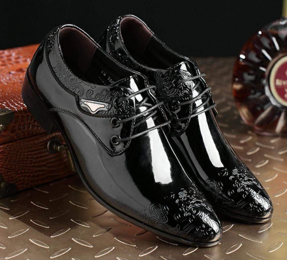 XWZG® Männer Business Casual Lackleder Schuhe Mode Druck Dekoration Lackleder Casual Spitze Anzug Schuhe Büro Büro Schuhe Hochzeit Schuhe schwarz 2b934f