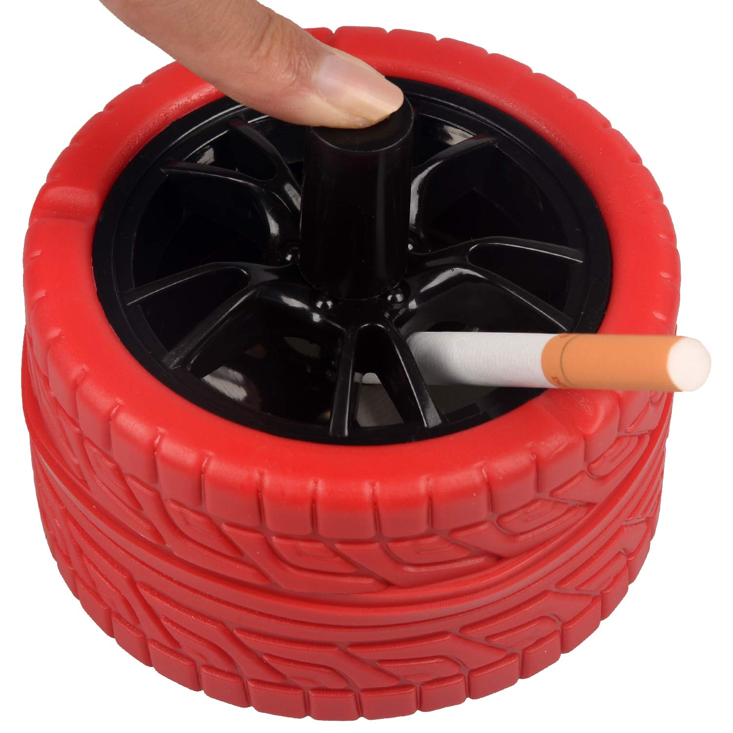 Round Push Down Ashtray with Spinning Tray for Indoor or Outdoor Use Red