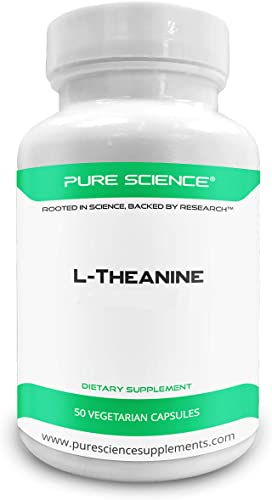 Pure Science L-Theanine Supplement 400 mg Supports Cognition, Improves Mental Performance and Calms the mind and Reduce stress – 50 Vegetarian Capsules