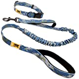 BK PRODUCTS LLC Dog Leash and Dog Collar Set with Dual Padded Handles for Training Walking Running Hiking - Reflective and Chew Resistant for Medium and Large Dogs with Bungee for Controlled Pulling