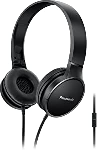 PANASONIC 2-Tone Color Foldable Headphones with Microphone, Call Controller and 3.9 ft Audio Cord Compatible with iPhone, BlackBerry, Android - RP-HF300M-K - On-Ear Headphones (Black/Black)