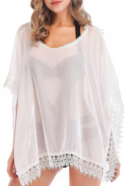 SUNNOW® Damen Sommerkleid Strandkleid Bikini Cover Up Badebekleidung Bademode Minikleid Frauen Blusen Oberteil DECL1511_WH