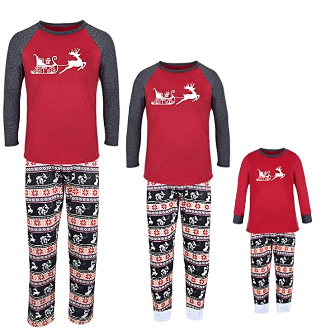 Matching Family Sleepwear Christmas ELF Printing Letters Pajamas Set with  Green Striped Pants A20 at Amazon Women s Clothing store  105a57945