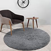 YOH Super Soft Fluffy Nursery Rug from Rugs for Bedroom Home Area Decor Round (4' Diameter,Grey)