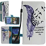 HTC Desire 626 Case, HTC Desire 626S Wallet Case, Harryshell(TM) Feather Pattern Flip PU Leather Wallet Leather Case Cover for HTC Desire 626 A22 626S With Wrist Strap & Card Slots And Stand Function