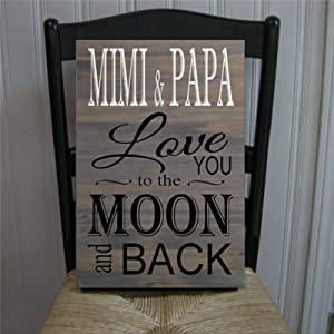 BYRON HOYLE Mimi & Papa Gray Love You to The Moon and Back Wood Sign,Wooden Wall Hanging Art,Inspirational Farmhouse Wall Plaque,Rustic Home Decor for Living Room,Nursery,Bedroom,Porch,Gallery Wall