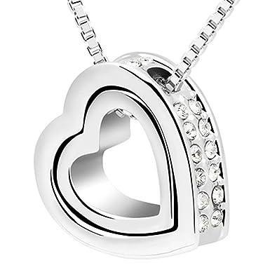 834a489b6585 MYA art Damen Herzkette Halskette Silber Kette Doppel Herz-Anhänger mit  Swarovski Elements Strass Kristall
