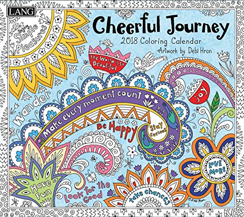 "LANG - 2018 ""Coloring"" Wall Calendar - ""Cheerful Journey"", Artwork by Debi Hron - 12 Month, Open Size 13.4"" X 24"""