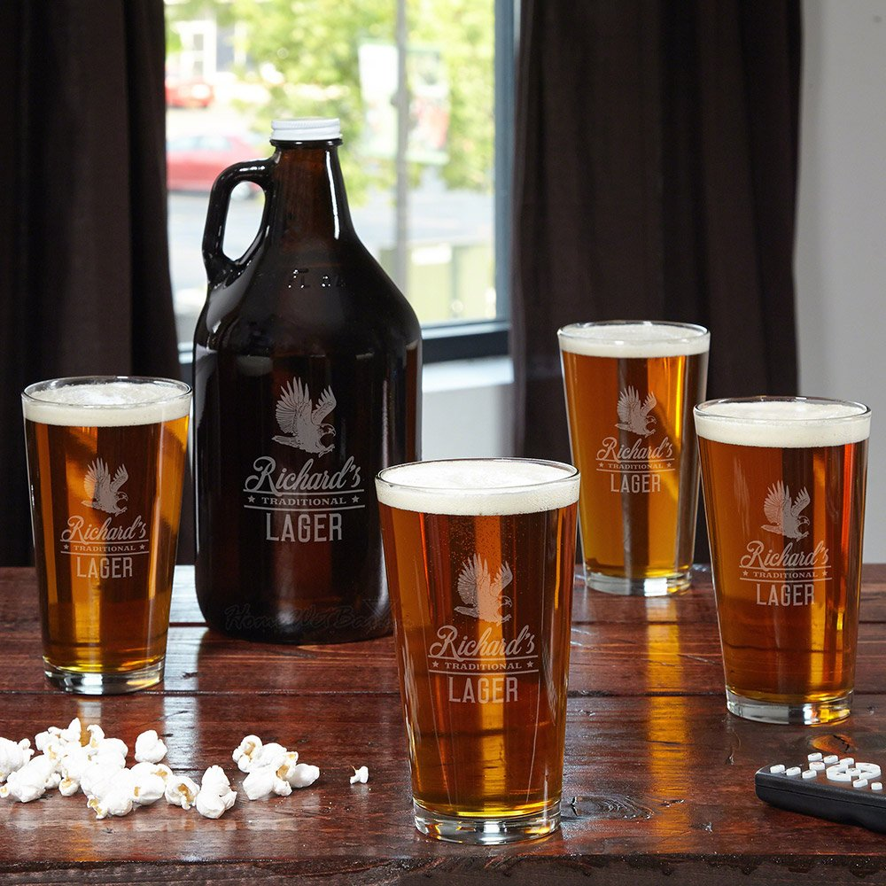 Rushmore Personalized Beer Growler and Glasses Set (Customizable Product)