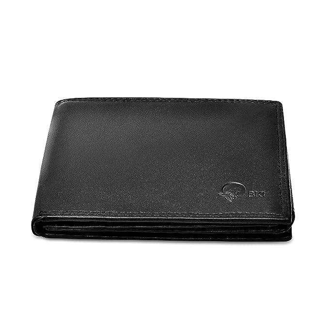 Monedero con protección RFID, monedero negro hecho de cuero ...