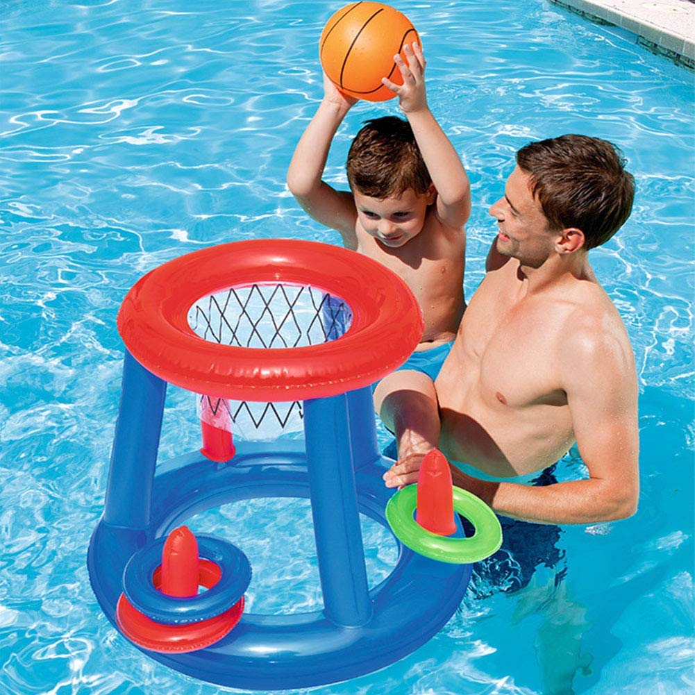 Yealsha Inflatable Basketball Toys-Tropical Hawaiian Summer Pool Beach Party Favors Floating Hoop Game Set with One Basketball & Three Rings, Swimming Water Sports Game Toy for Children & Adult